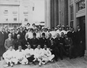Image: First Staff with Sir William Osler at dedication of the Peter Bent Brigham Hospital, April 30, 1913