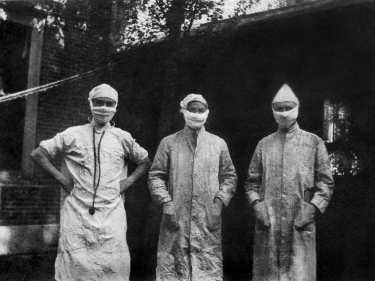 Doctors at the Peter Bent Brigham Hospital in Boston, Massachusetts wearing personal protective equipment