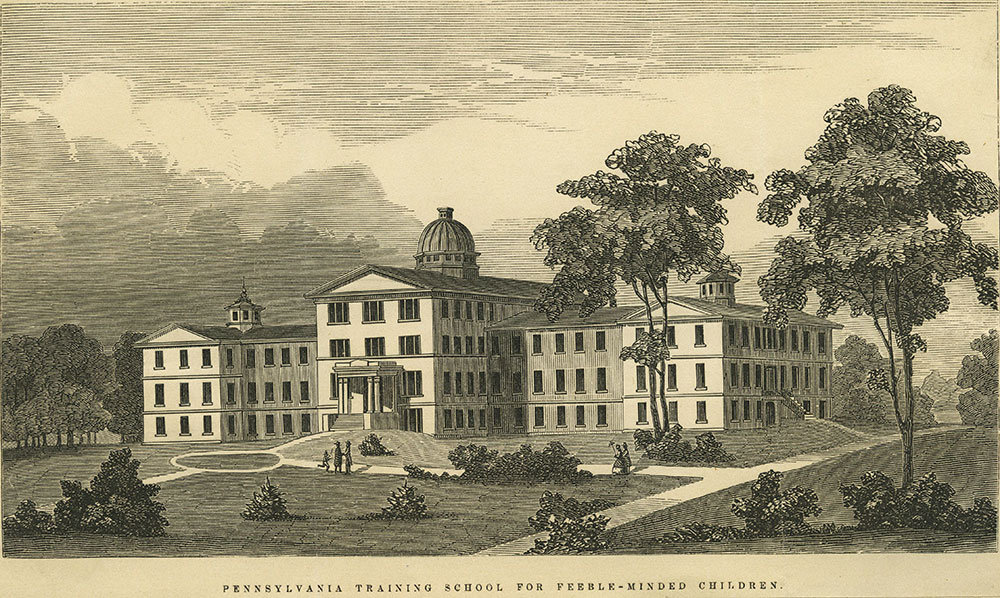 Black and white image of the Pennsylvania Training School for Feeble-Minded Children.
