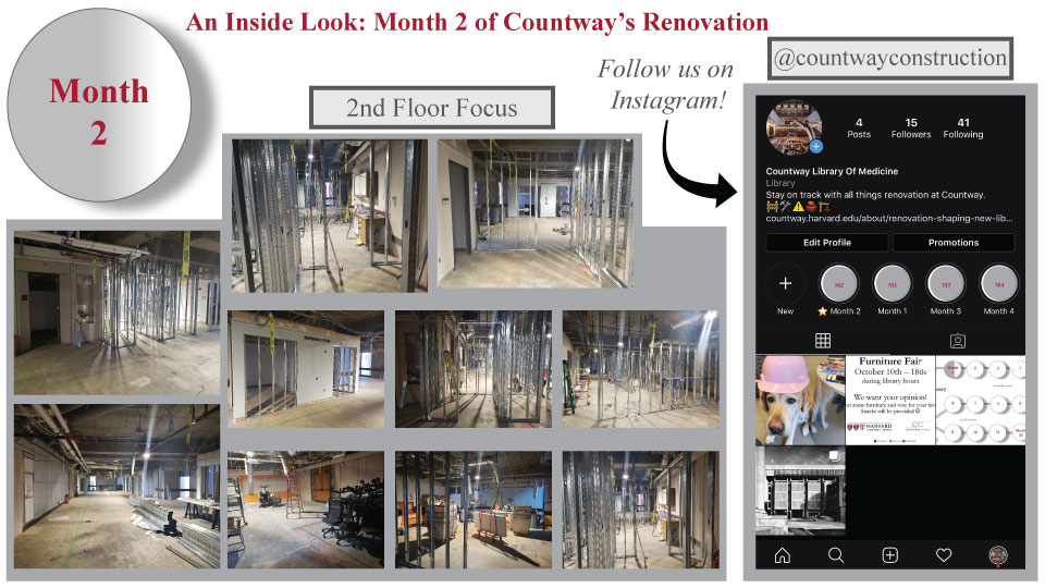 pictures of a study room under construction, and a picture of the Countway Library construction Instagram page.