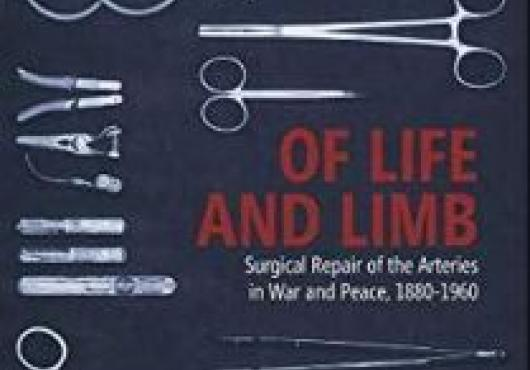 Cover of the book A Stitch in Time: Arterial Repair and the Process of Change in Surgery, 1880-1960 by Justin Barr, which features pictures of surgical instruments.