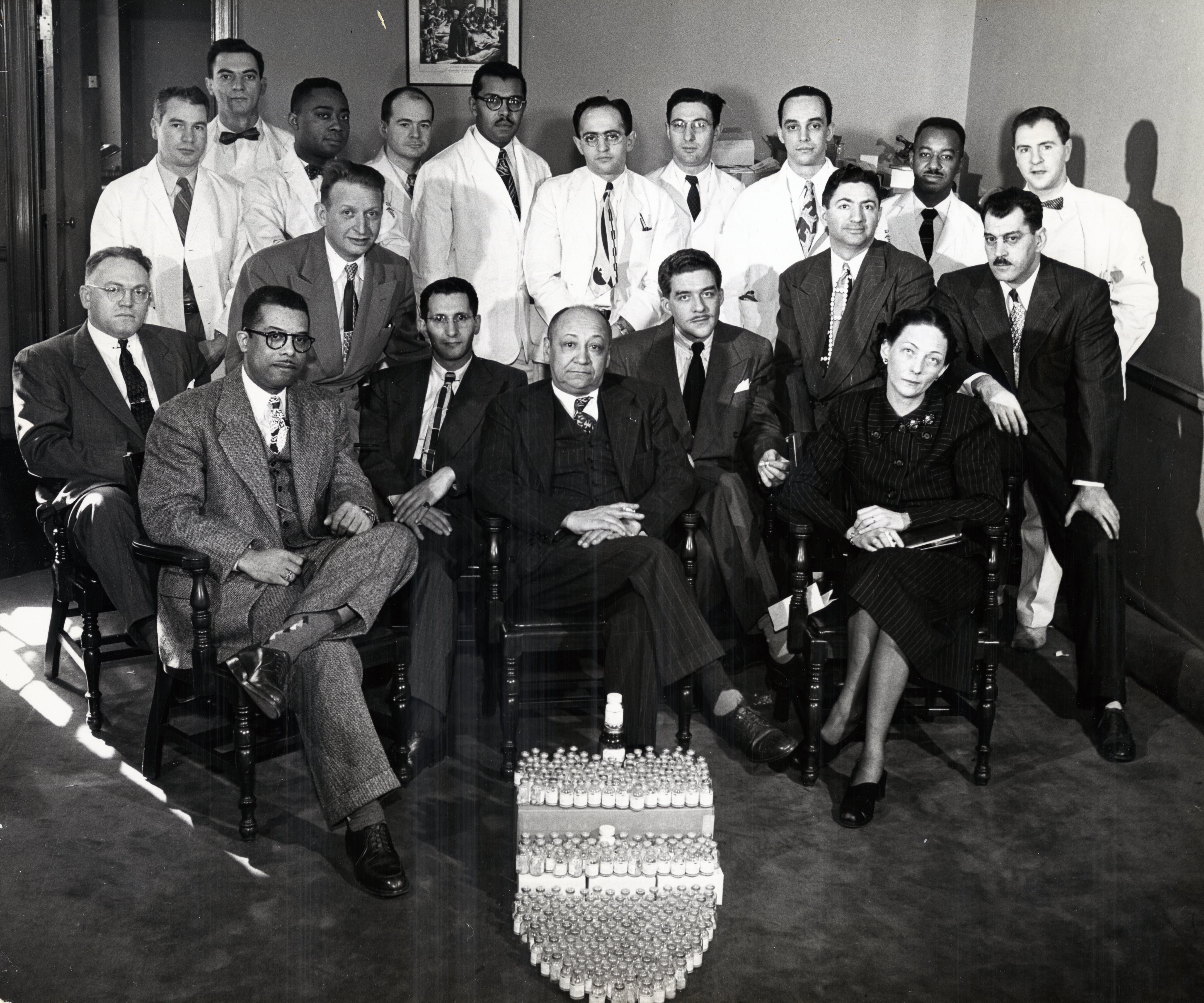 Myra Logan (front row, right) with Louis Tompkins Wright (front row, center) and other members of the Aureomycin research group at Harlem Hospital (1949).