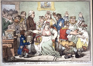 Cartoon satire of a woman being inoculated from cow pox